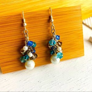 Swarovski Elements Handmade Crystal  Blue Earrings